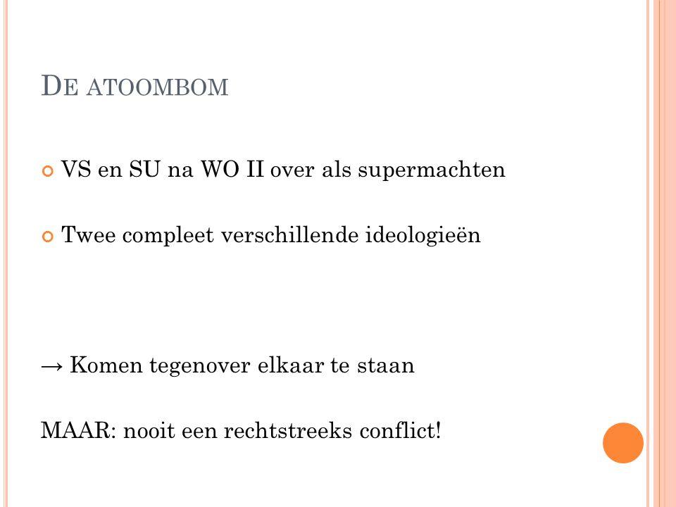 D E ATOOMBOM VS en SU na WO II over als supermachten Twee compleet verschillende ideologieën → Komen tegenover elkaar te staan MAAR: nooit een rechtst