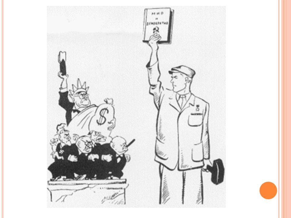 C ONTAINMENT Trumandoctrine = ingrijpen in landen die DREIGEN communistisch te worden Voorbeelden: - 1947: Griekenland en Turkije - Marshallhulp voor Europa - 1948-1949: Blokkade van Berlijn