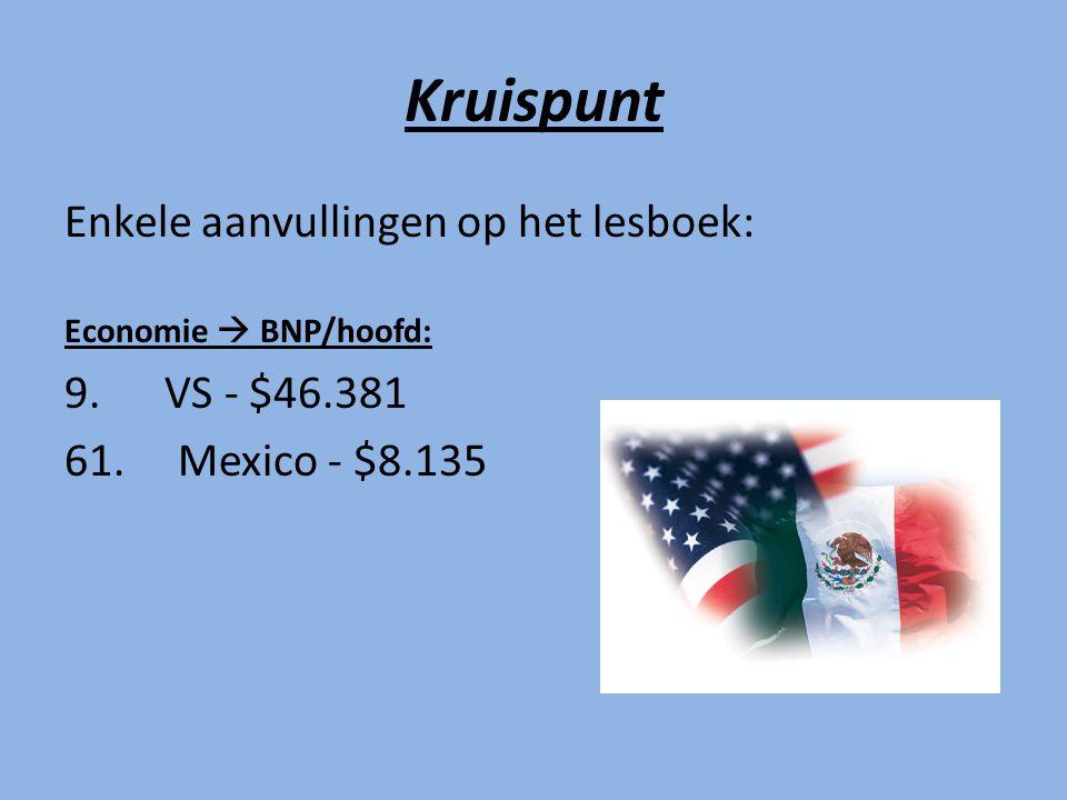 Kruispunt Enkele aanvullingen op het lesboek: Economie  BNP/hoofd: 9.