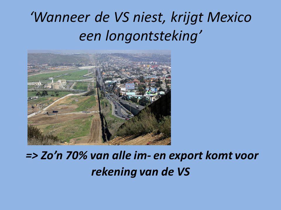 => Zo'n 70% van alle im- en export komt voor rekening van de VS