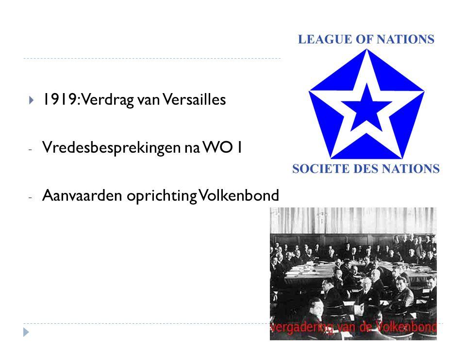  1919: Verdrag van Versailles - Vredesbesprekingen na WO I - Aanvaarden oprichting Volkenbond