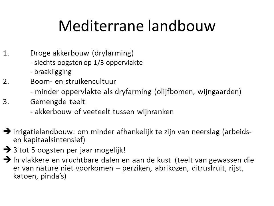 Mediterrane landbouw 1.Droge akkerbouw (dryfarming) - slechts oogsten op 1/3 oppervlakte - braakligging 2.Boom- en struikencultuur - minder oppervlakt
