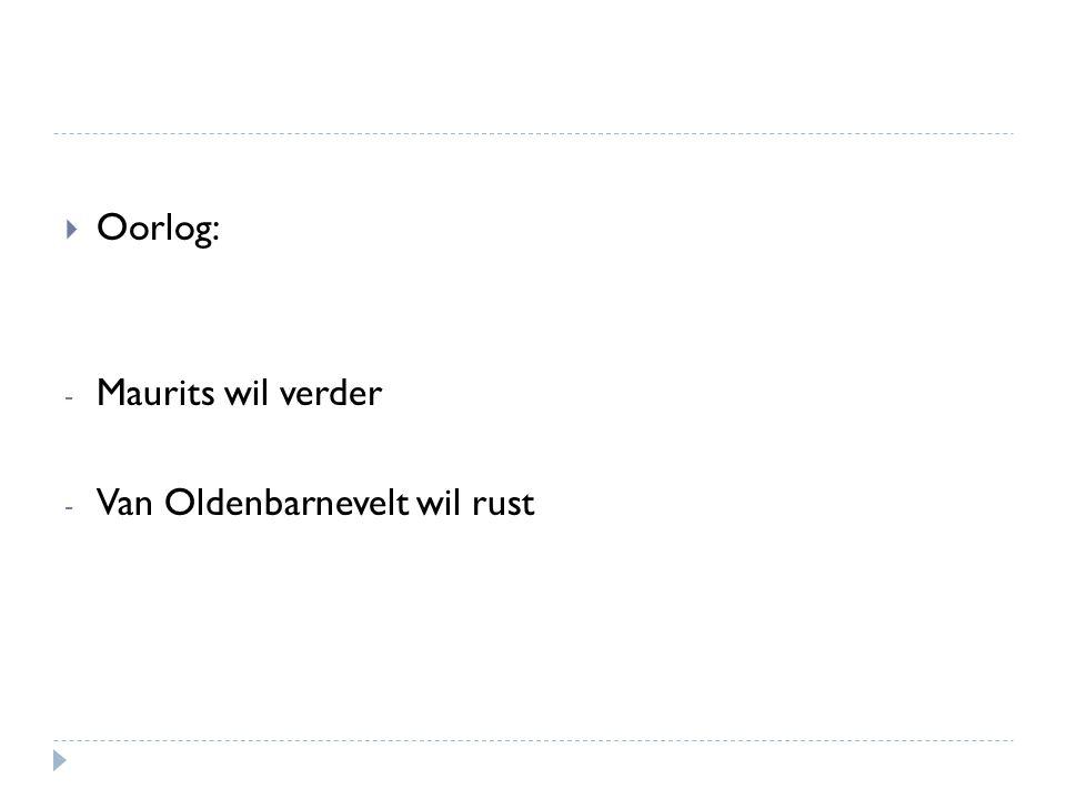  Oorlog: - Maurits wil verder - Van Oldenbarnevelt wil rust