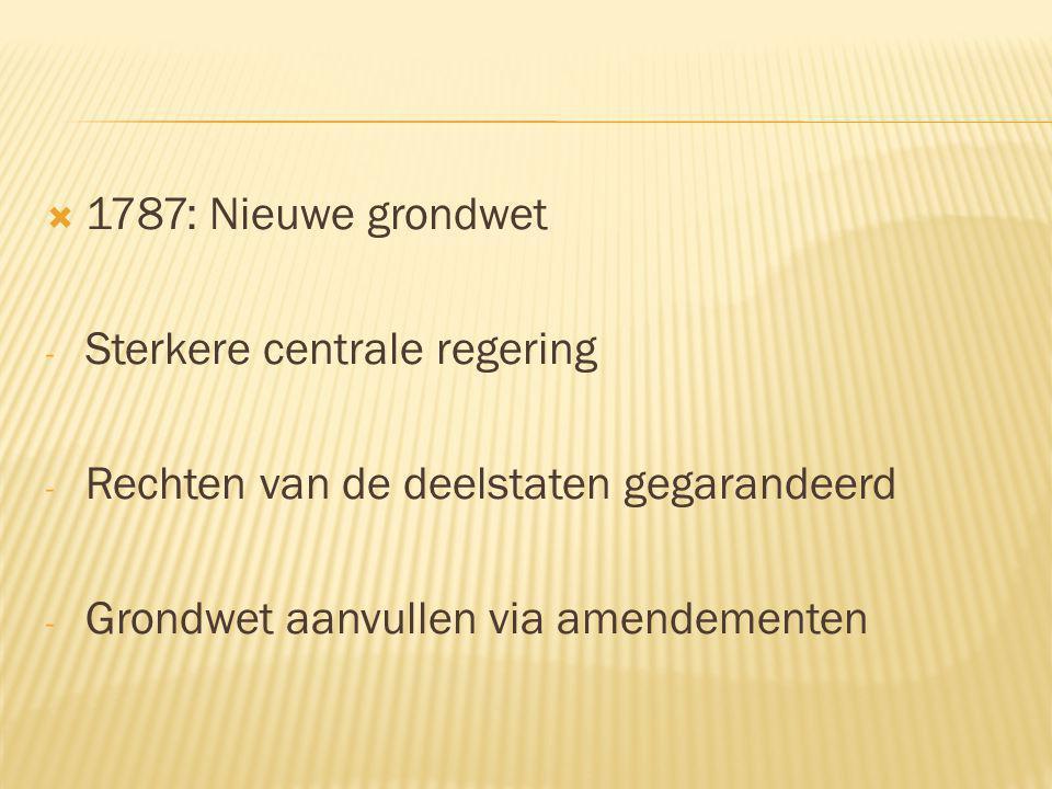  1787: Nieuwe grondwet - Sterkere centrale regering - Rechten van de deelstaten gegarandeerd - Grondwet aanvullen via amendementen