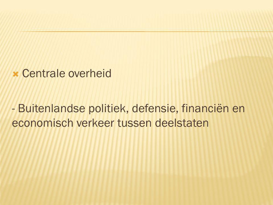  Centrale overheid - Buitenlandse politiek, defensie, financiën en economisch verkeer tussen deelstaten