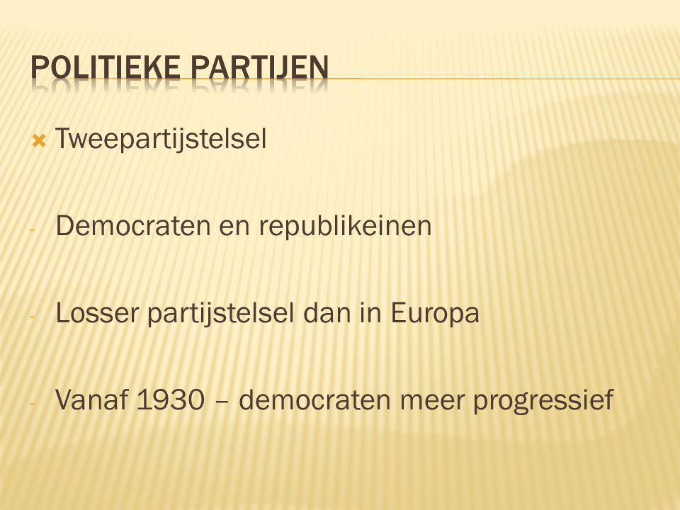  Tweepartijstelsel - Democraten en republikeinen - Losser partijstelsel dan in Europa - Vanaf 1930 – democraten meer progressief