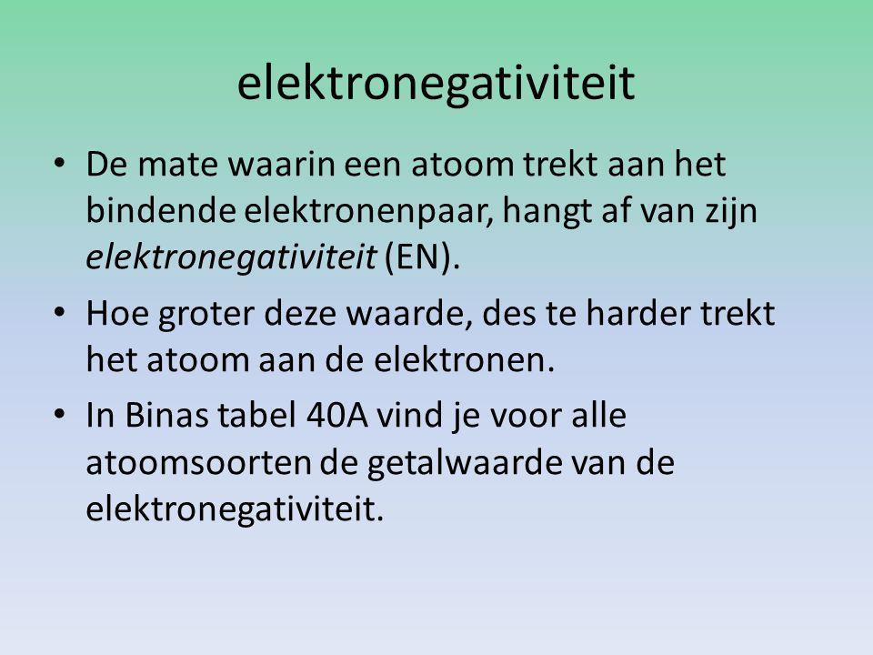 elektronegativiteit De mate waarin een atoom trekt aan het bindende elektronenpaar, hangt af van zijn elektronegativiteit (EN). Hoe groter deze waarde