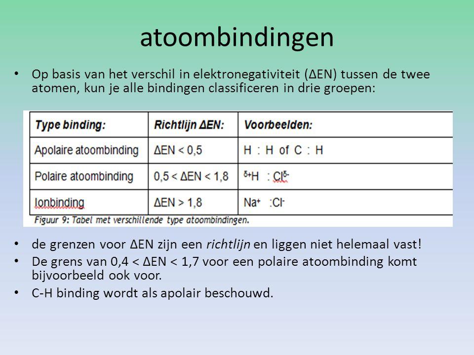 atoombindingen Op basis van het verschil in elektronegativiteit (ΔEN) tussen de twee atomen, kun je alle bindingen classificeren in drie groepen: de g