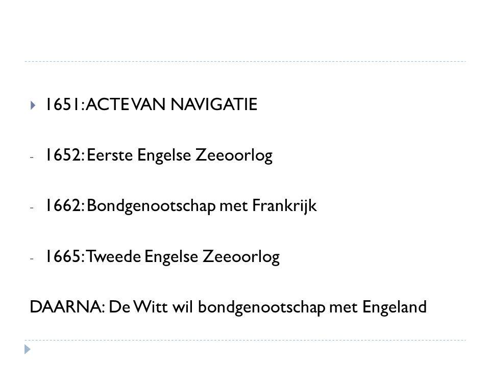  1651: ACTE VAN NAVIGATIE - 1652: Eerste Engelse Zeeoorlog - 1662: Bondgenootschap met Frankrijk - 1665: Tweede Engelse Zeeoorlog DAARNA: De Witt wil