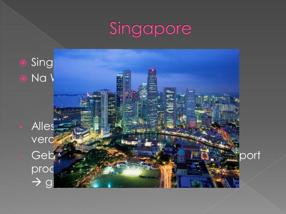  Singapore = leeuwenstad  Na WO2 : zelfstandige ministaat  1 politieke partij Alles en iedereen inzetten om geld te verdienen Gebieden werden aange