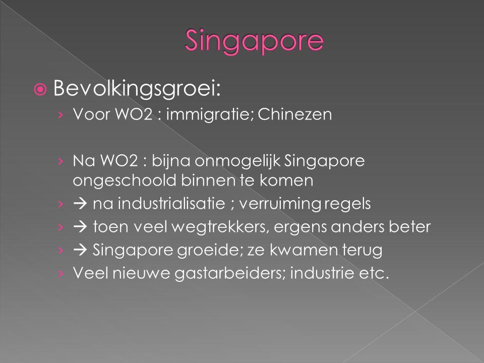  Bevolkingsgroei: › Voor WO2 : immigratie; Chinezen › Na WO2 : bijna onmogelijk Singapore ongeschoold binnen te komen ›  na industrialisatie ; verru