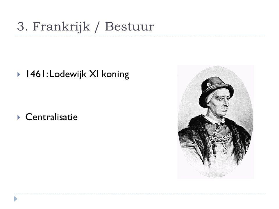 3. Frankrijk / Bestuur  1461: Lodewijk XI koning  Centralisatie