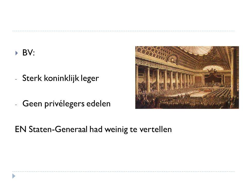  BV: - Sterk koninklijk leger - Geen privélegers edelen EN Staten-Generaal had weinig te vertellen