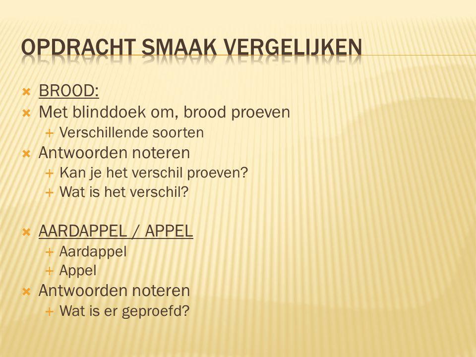  BROOD:  Met blinddoek om, brood proeven  Verschillende soorten  Antwoorden noteren  Kan je het verschil proeven?  Wat is het verschil?  AARDAP