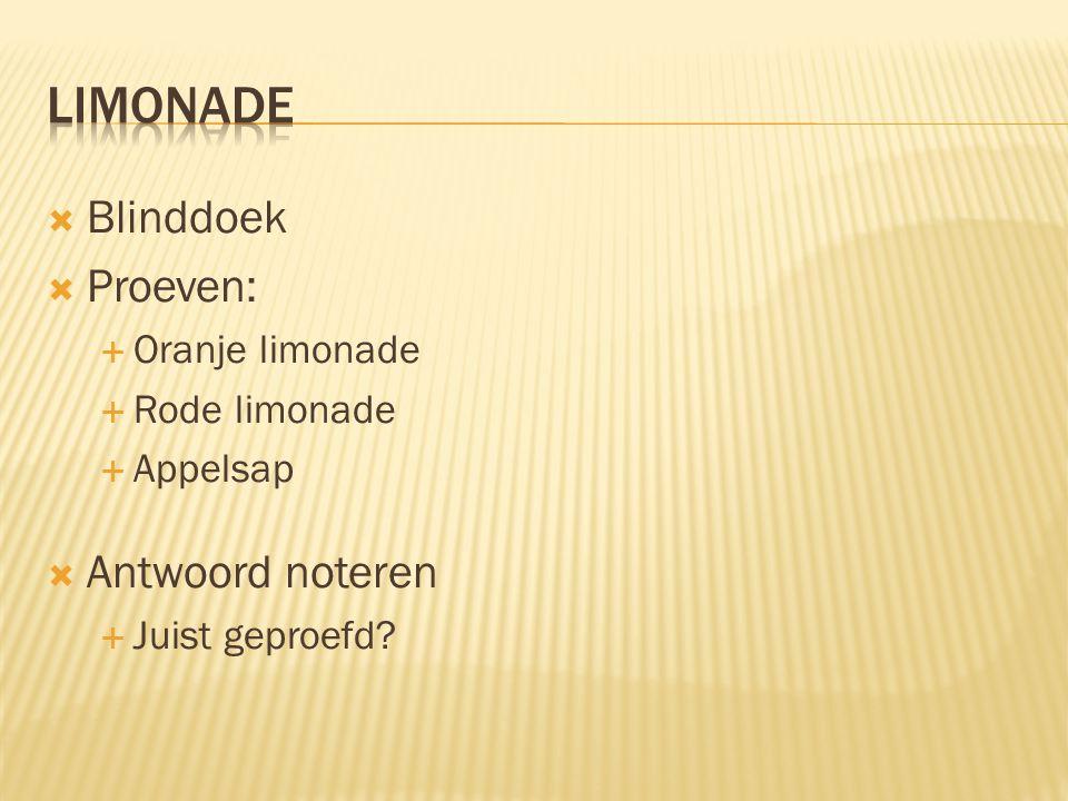  Blinddoek  Proeven:  Oranje limonade  Rode limonade  Appelsap  Antwoord noteren  Juist geproefd?