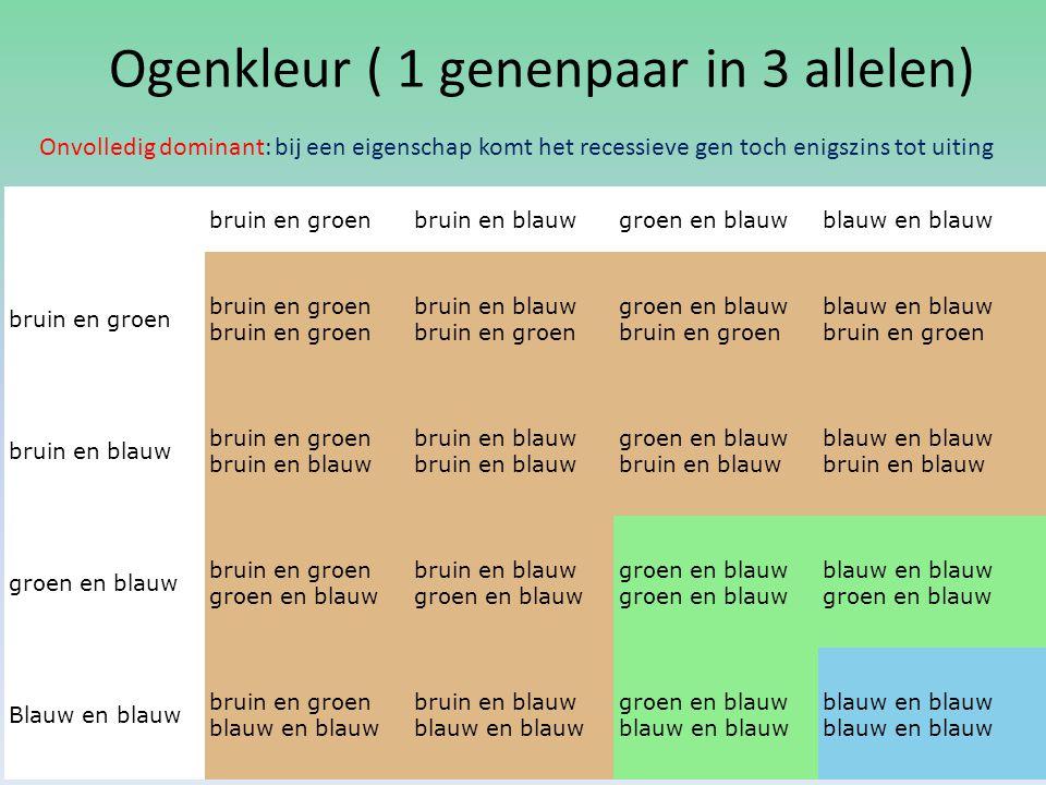 Ogenkleur ( 1 genenpaar in 3 allelen) bruin en groenbruin en blauwgroen en blauwblauw en blauw bruin en groenbruin en groen bruin en blauw bruin en gr