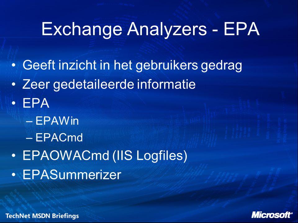Exchange Analyzers - EPA Geeft inzicht in het gebruikers gedrag Zeer gedetaileerde informatie EPA –EPAWin –EPACmd EPAOWACmd (IIS Logfiles) EPASummerizer