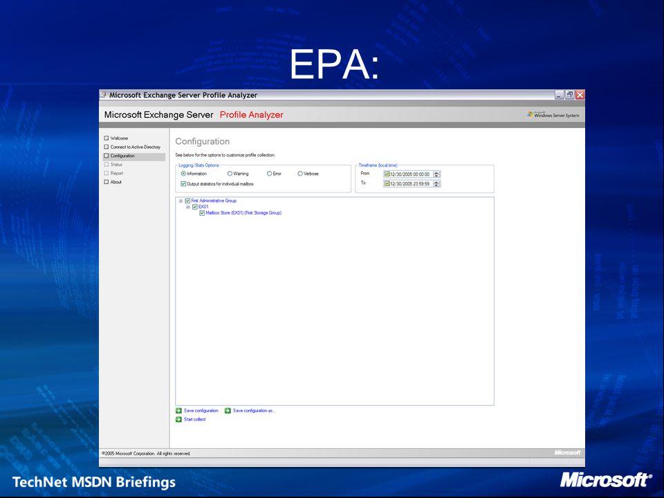 Exchange Analyzers - ExPTA Hulpmiddel bij RPC/performance problemen Kan data van Microsoft Exchange Server User Monitor Tool (ExMon) gebruiken Niet op de probleem server installeren Alleen voor USA English OS Huide versie 1.1