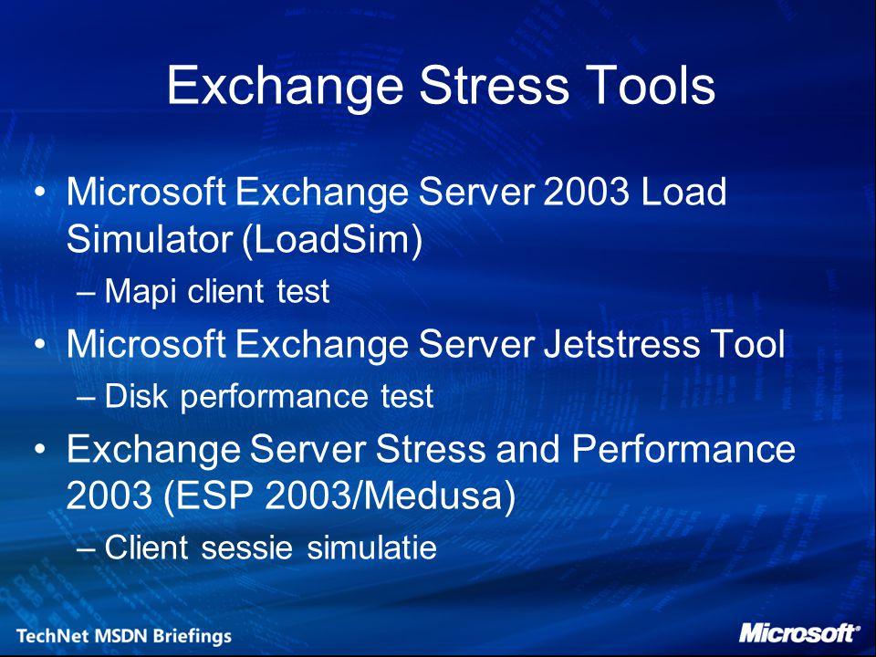 Exchange Stress Tools Microsoft Exchange Server 2003 Load Simulator (LoadSim) –Mapi client test Microsoft Exchange Server Jetstress Tool –Disk performance test Exchange Server Stress and Performance 2003 (ESP 2003/Medusa) –Client sessie simulatie