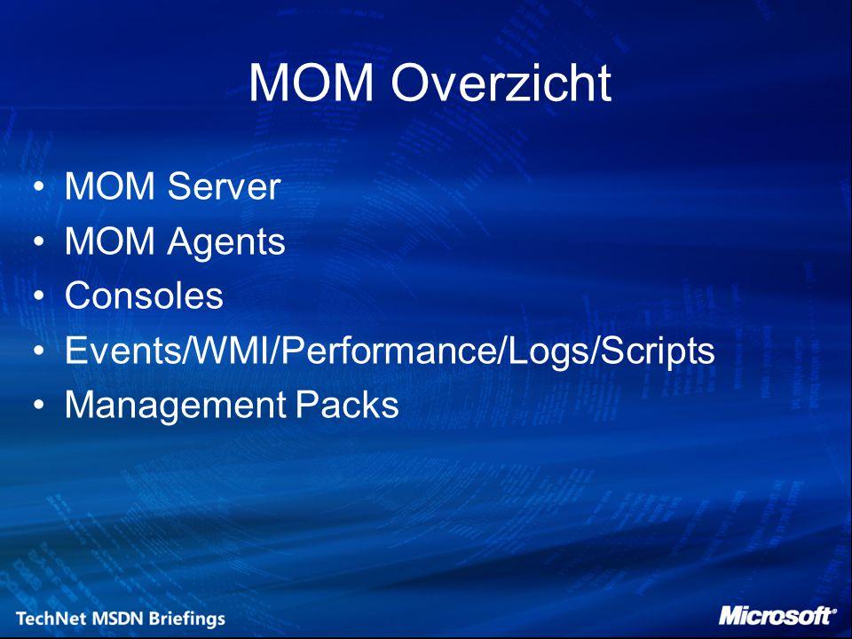 MOM Server Volledige versie Workgroup Edition –Maximaal 10 agents –Geen reporting –Geen connectie opties –Goedkoop