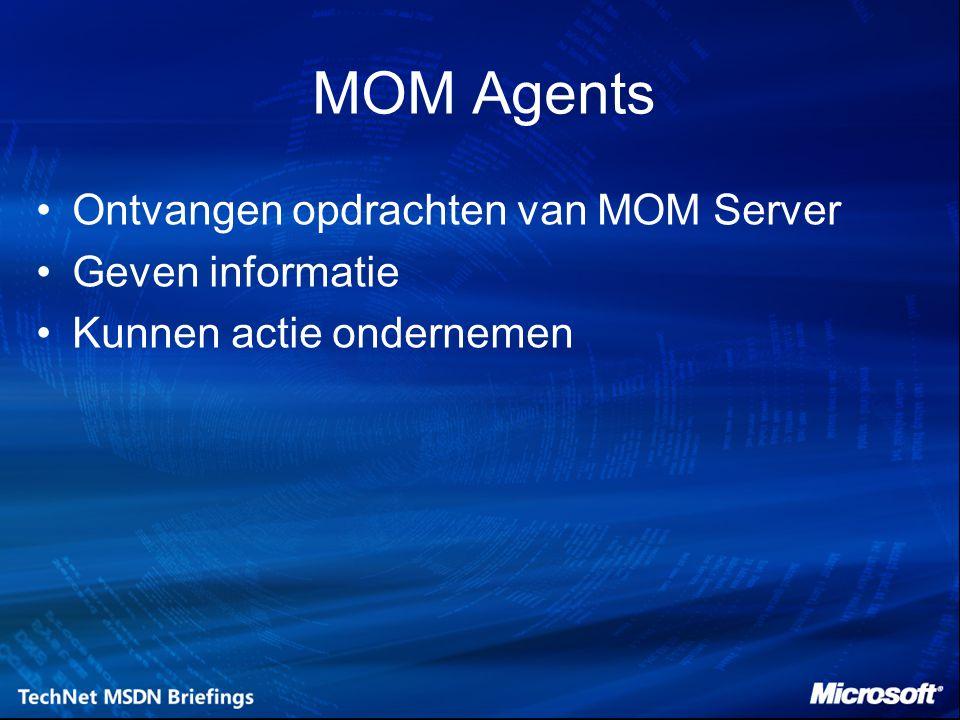 MOM Agents Ontvangen opdrachten van MOM Server Geven informatie Kunnen actie ondernemen