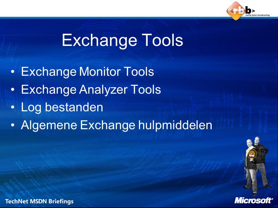 Exchange Monitor Tools Monitoren van: –Exchange Services –Beschikbaar Virtueel Geheugen –CPU Gebruik –Vrije schijfruimte –SMTP queue groei –Windows service –X 400 queue groei