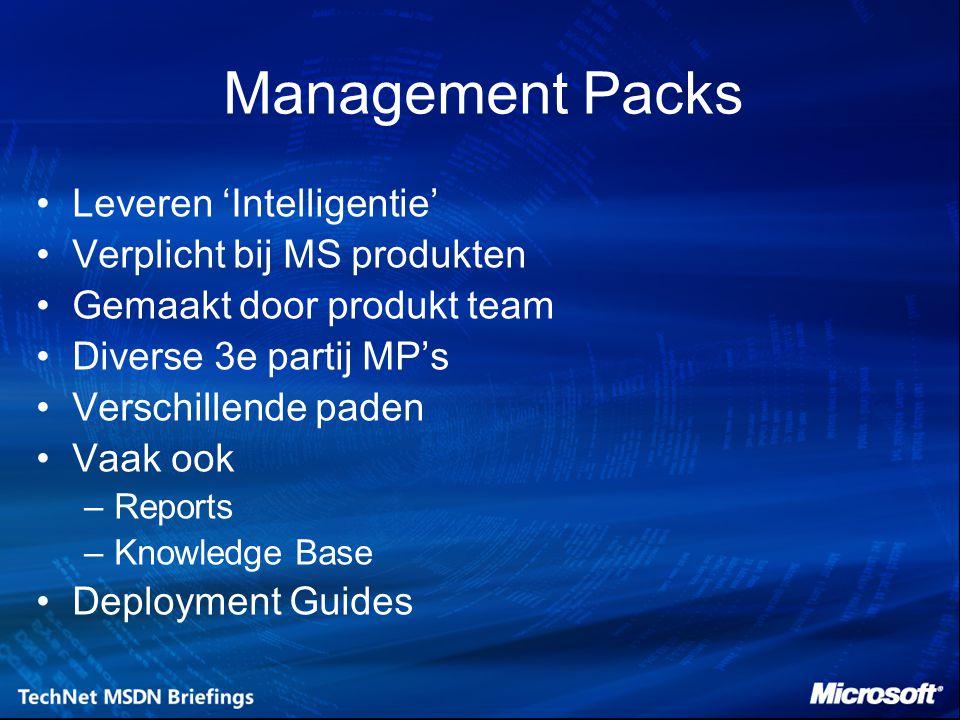Management Packs Leveren 'Intelligentie' Verplicht bij MS produkten Gemaakt door produkt team Diverse 3e partij MP's Verschillende paden Vaak ook –Reports –Knowledge Base Deployment Guides