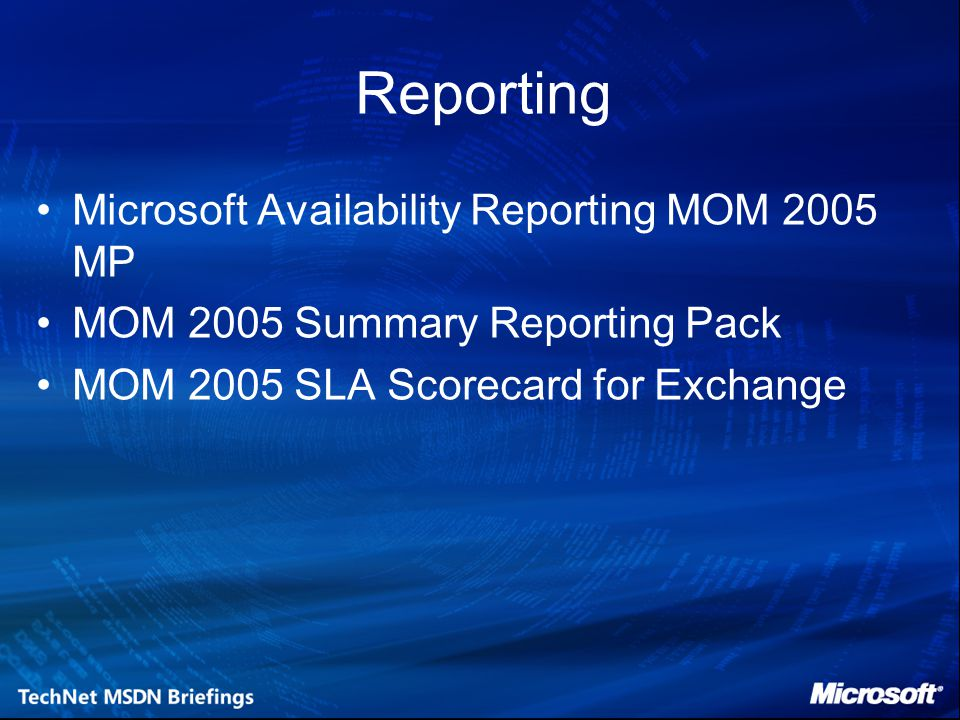 Availability Reporting Beschikbaarheids rapportage Statistieken: –Mean Time To Shutdown –Shutdown Frequency –Mean Downtime –Kernelmode Failures –Application Exceptions –Beschikbaarheid
