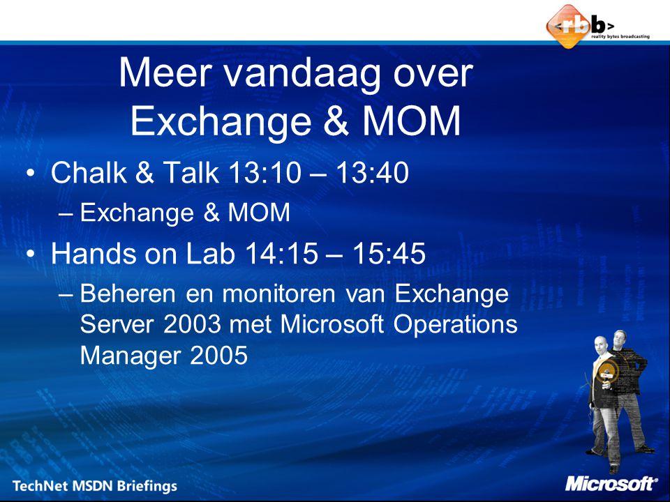 Meer vandaag over Exchange & MOM Chalk & Talk 13:10 – 13:40 –Exchange & MOM Hands on Lab 14:15 – 15:45 –Beheren en monitoren van Exchange Server 2003 met Microsoft Operations Manager 2005