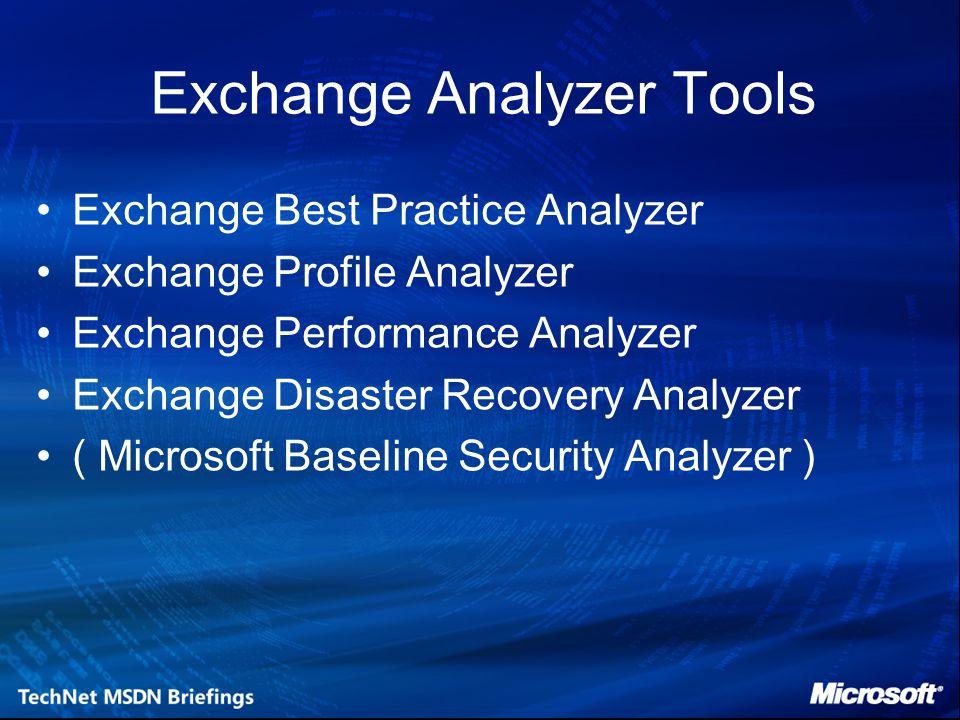 Exchange Analyzer Tools Exchange Best Practice Analyzer Exchange Profile Analyzer Exchange Performance Analyzer Exchange Disaster Recovery Analyzer ( Microsoft Baseline Security Analyzer )