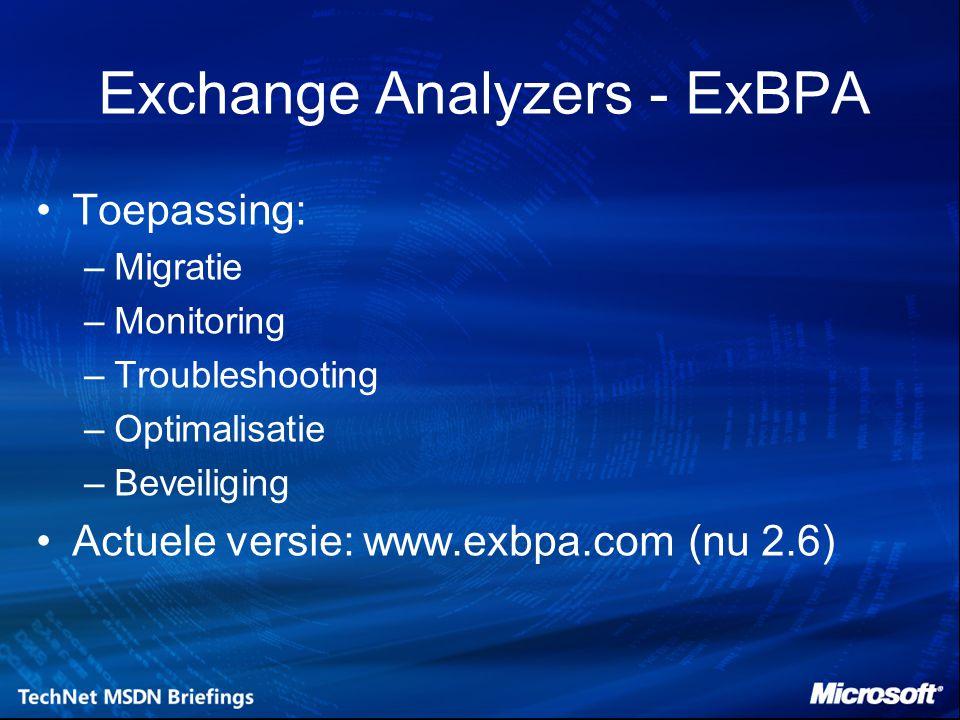 EXBPA - Vervolg Health Check –Performance Baseline Permission Structure Test Connectivity Test Baseline