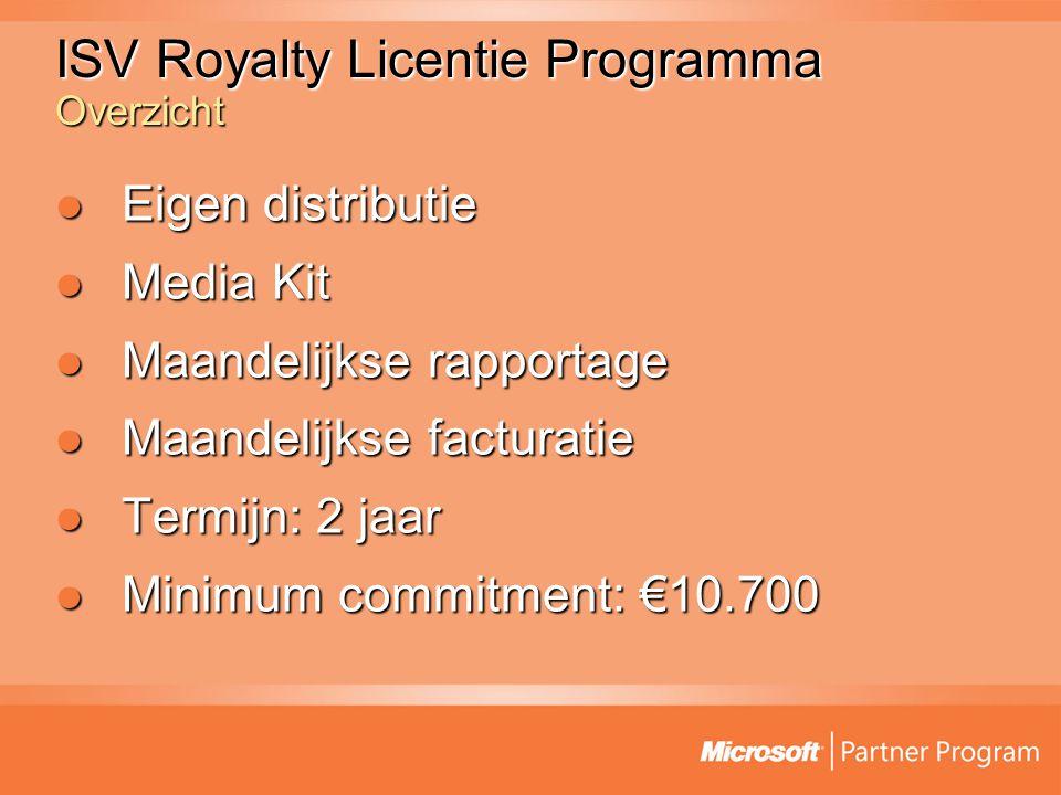 ISV Royalty Licentie Programma Overzicht Eigen distributie Eigen distributie Media Kit Media Kit Maandelijkse rapportage Maandelijkse rapportage Maandelijkse facturatie Maandelijkse facturatie Termijn: 2 jaar Termijn: 2 jaar Minimum commitment: €10.700 Minimum commitment: €10.700