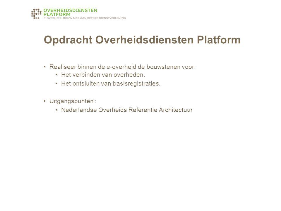 Opdracht Overheidsdiensten Platform Realiseer binnen de e-overheid de bouwstenen voor: Het verbinden van overheden.