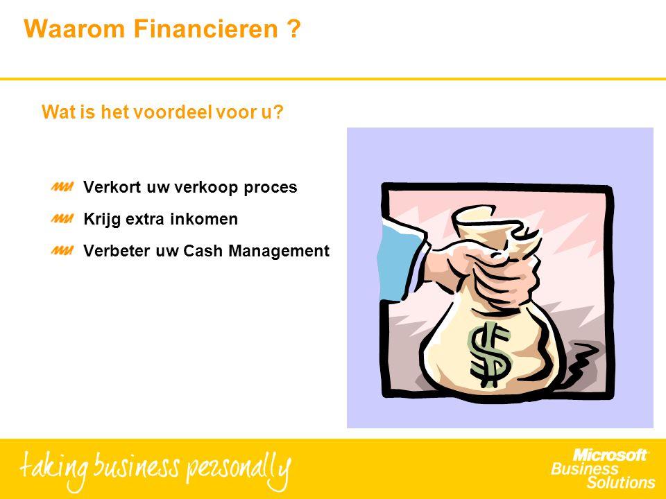 Waarom Financieren ? Verkort uw verkoop proces Krijg extra inkomen Verbeter uw Cash Management Wat is het voordeel voor u?