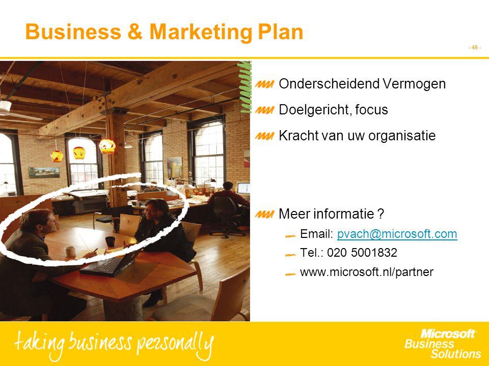 - 45 - Business & Marketing Plan Onderscheidend Vermogen Doelgericht, focus Kracht van uw organisatie Meer informatie ? Email: pvach@microsoft.compvac