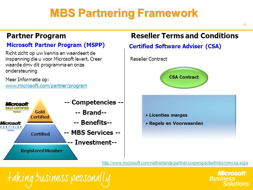 - 6 - MBS Partnering Framework -- Competencies -- -- Benefits-- -- Investment-- -- Brand-- -- MBS Services -- Registered Member Certified Gold Certified Licenties marges Regels en Voorwaarden CSA Contract Partner Program Richt zicht op uw kennis en waardeert de inspanning die u voor Microsoft levert.