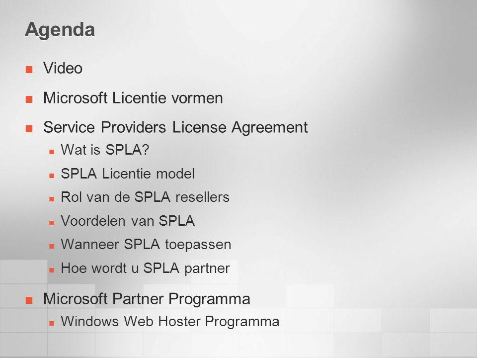 Agenda Video Microsoft Licentie vormen Service Providers License Agreement Wat is SPLA.