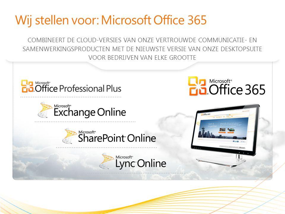 Wij stellen voor: Microsoft Office 365 COMBINEERT DE CLOUD-VERSIES VAN ONZE VERTROUWDE COMMUNICATIE- EN SAMENWERKINGSPRODUCTEN MET DE NIEUWSTE VERSIE VAN ONZE DESKTOPSUITE VOOR BEDRIJVEN VAN ELKE GROOTTE