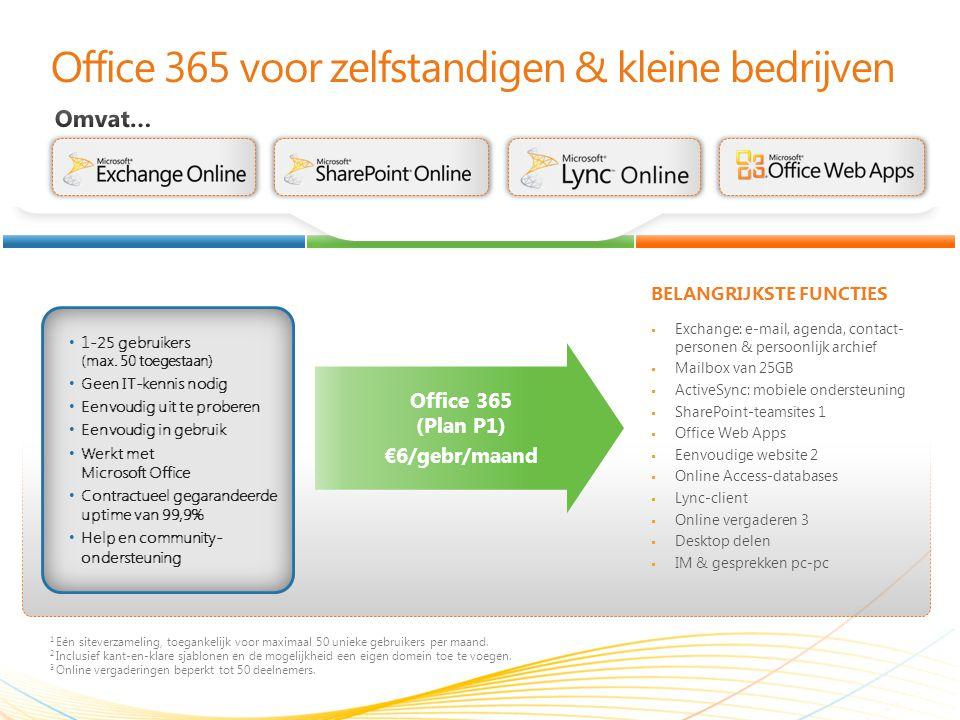 Office 365 voor zelfstandigen & kleine bedrijven BELANGRIJKSTE FUNCTIES 1 Eén siteverzameling, toegankelijk voor maximaal 50 unieke gebruikers per maand.