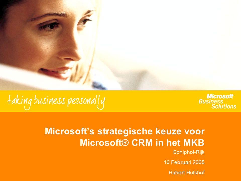 Microsoft's strategische keuze voor Microsoft® CRM in het MKB Schiphol-Rijk 10 Februari 2005 Hubert Hulshof