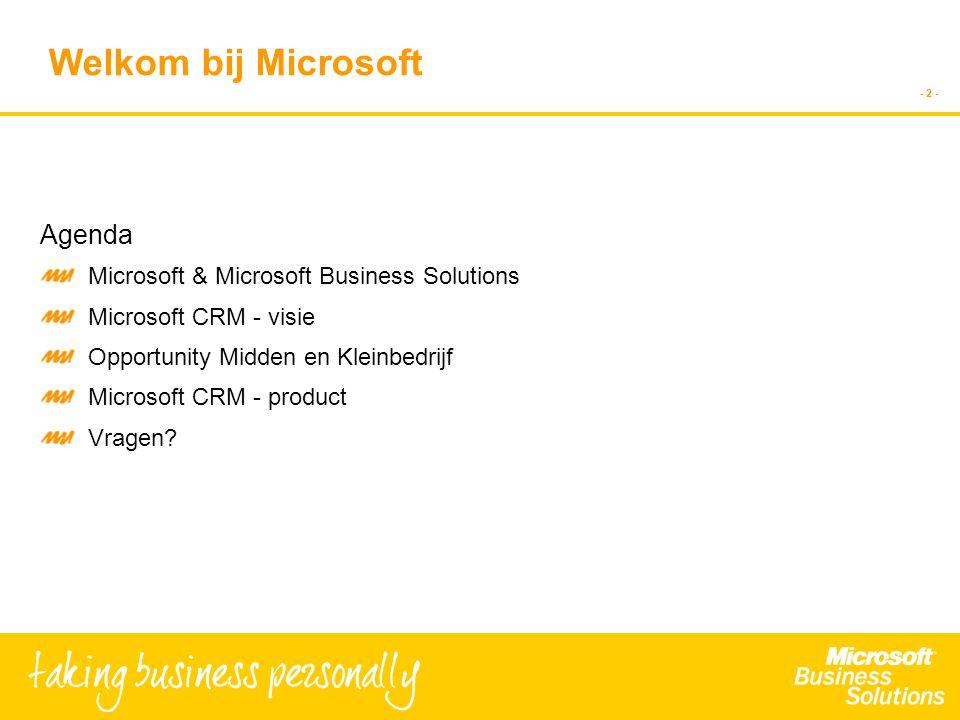 - 2 - Agenda Microsoft & Microsoft Business Solutions Microsoft CRM - visie Opportunity Midden en Kleinbedrijf Microsoft CRM - product Vragen.