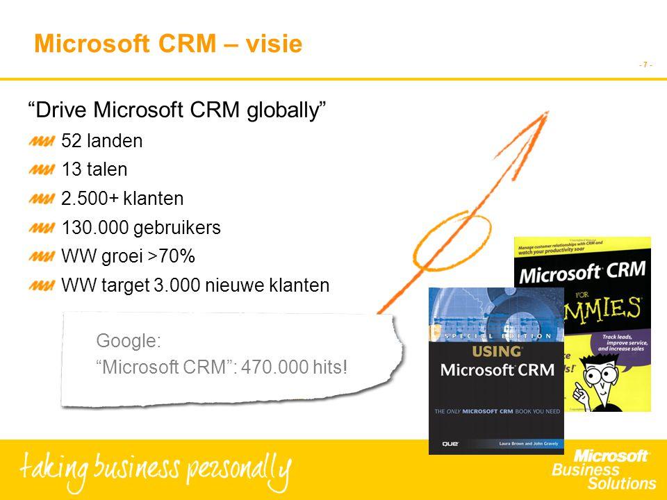 - 7 - Microsoft CRM – visie Drive Microsoft CRM globally 52 landen 13 talen 2.500+ klanten 130.000 gebruikers WW groei >70% WW target 3.000 nieuwe klanten Google: Microsoft CRM : 470.000 hits!