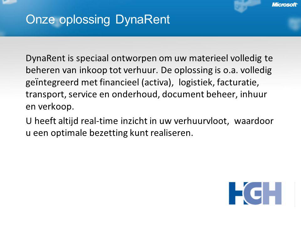 Onze oplossing DynaRent DynaRent is speciaal ontworpen om uw materieel volledig te beheren van inkoop tot verhuur.