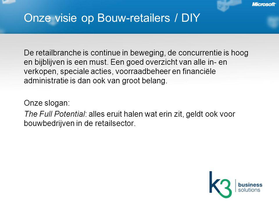 Onze visie op Bouw-retailers / DIY De retailbranche is continue in beweging, de concurrentie is hoog en bijblijven is een must.