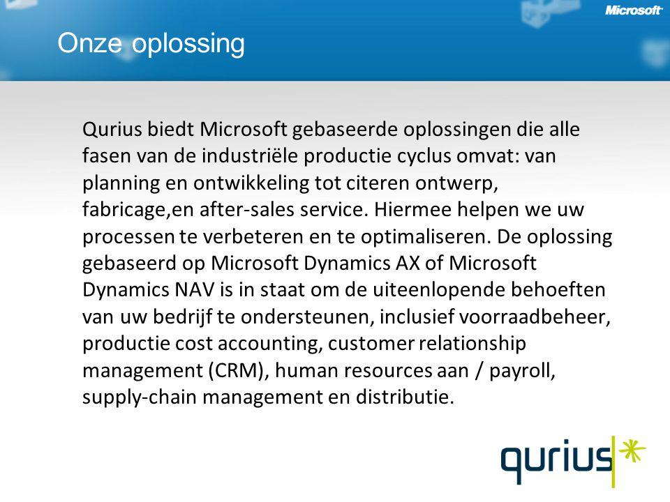 Onze oplossing Qurius biedt Microsoft gebaseerde oplossingen die alle fasen van de industriële productie cyclus omvat: van planning en ontwikkeling tot citeren ontwerp, fabricage,en after-sales service.