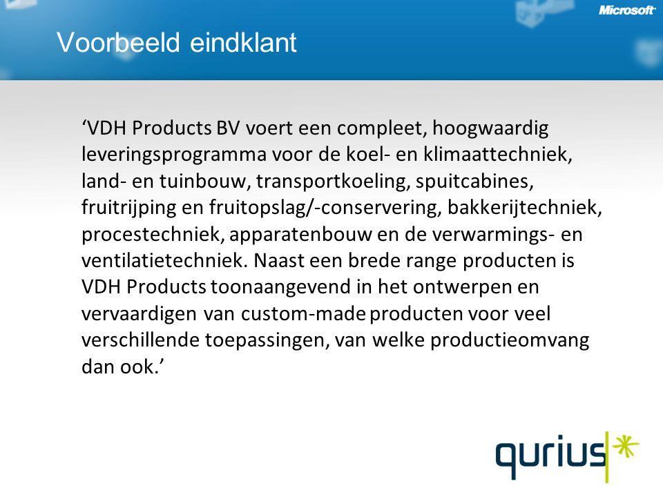 Voorbeeld eindklant 'VDH Products BV voert een compleet, hoogwaardig leveringsprogramma voor de koel- en klimaattechniek, land- en tuinbouw, transportkoeling, spuitcabines, fruitrijping en fruitopslag/-conservering, bakkerijtechniek, procestechniek, apparatenbouw en de verwarmings- en ventilatietechniek.