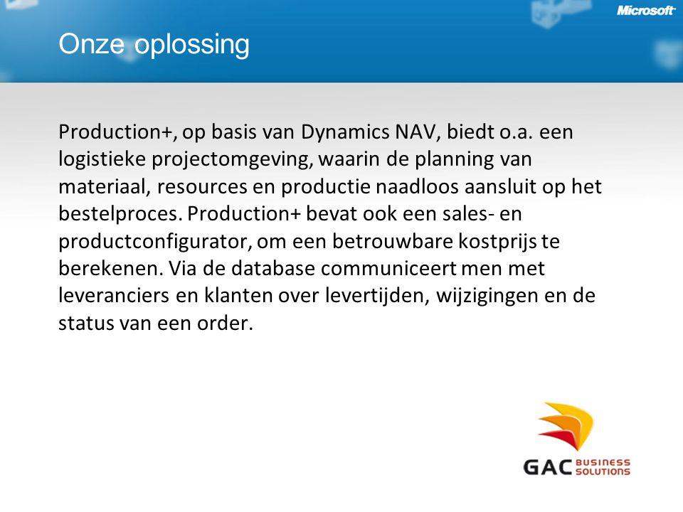Onze oplossing Production+, op basis van Dynamics NAV, biedt o.a. een logistieke projectomgeving, waarin de planning van materiaal, resources en produ