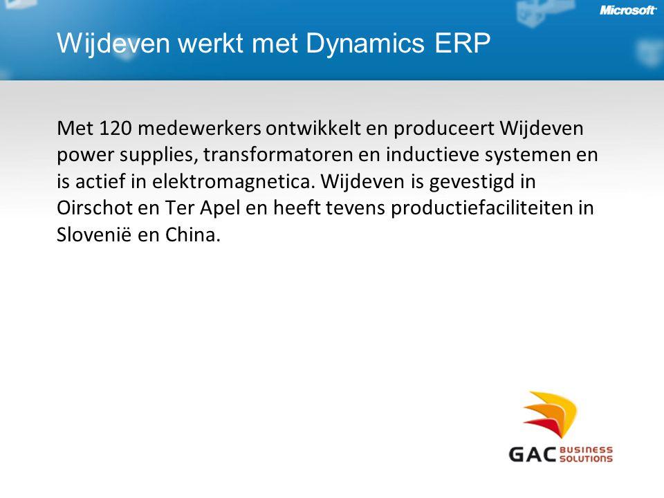 Wijdeven werkt met Dynamics ERP Met 120 medewerkers ontwikkelt en produceert Wijdeven power supplies, transformatoren en inductieve systemen en is actief in elektromagnetica.