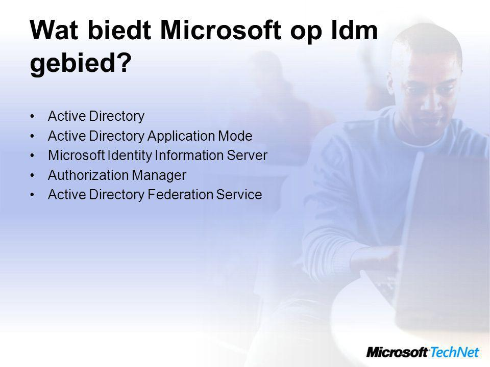 Wat biedt Microsoft op Idm gebied? Active Directory Active Directory Application Mode Microsoft Identity Information Server Authorization Manager Acti
