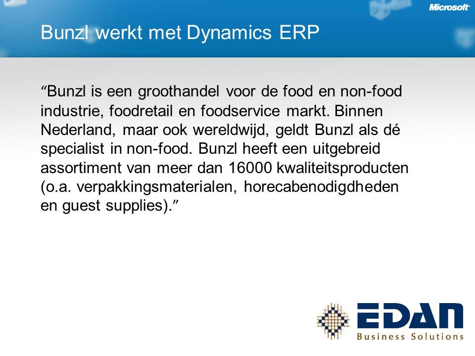 """Bunzl werkt met Dynamics ERP """" Bunzl is een groothandel voor de food en non-food industrie, foodretail en foodservice markt. Binnen Nederland, maar oo"""